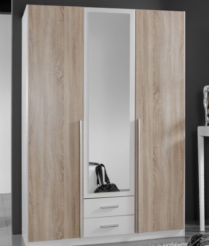 Artic White and Oak Effect 3 Door / 2 Drawer Wardrobe - 2650